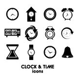 Clock and time icons Royalty Free Stock Images