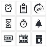 Clock and time icons set Royalty Free Stock Images