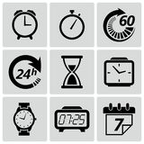 Clock and time icons. Vector illustration