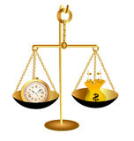 Of clock time money dollar on scales. Illustration of clock time money dollar on scales Stock Photography