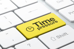 Clock and Time Pressure on computer keyboard backg. Time concept: computer keyboard with Clock icon and word Time Pressure, selected focus on enter button, 3d Royalty Free Stock Photography