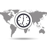 Clock time social media world map Stock Photography