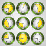 Clock with time stamp set Royalty Free Stock Photos
