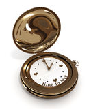 Clock time to love.  3D image. Pocket watch time to love.  3D image Stock Photo