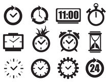 Clock and Time Vector Icon Set Royalty Free Stock Photo