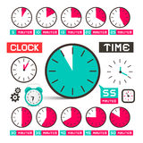 Clock - Time Vector Icons Set Royalty Free Stock Image