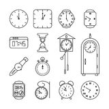 Clock and time vector line icons set Stock Photos