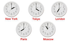 Clock and time zones Royalty Free Stock Images