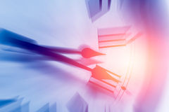 Clock time with zoom motion blur Royalty Free Stock Photos