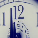 Clock about to strike 12 midnight or midday Royalty Free Stock Photography