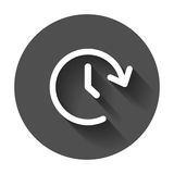 Clock tome vector icon. Timer 24 hours sign illustration on blac. K round background with long shadow Royalty Free Stock Image