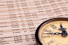Clock on top of financial paper Royalty Free Stock Photo