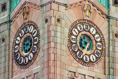 Clock tower 1. Matching clocks on the faces of a church tower royalty free stock photos