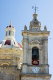 The Clock Tower. Catholic church. Gozo Royalty Free Stock Photography