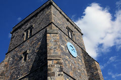 Clock Tower. Of medieval church in England Stock Images