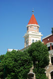The Clock Tower. ??In the blue sky background Stock Image