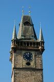 Clock tower. Of the town hall of the old city of praga royalty free stock photos