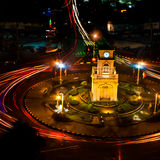 Clock Tower. A Clock Tower with Traffic Circle in the night Royalty Free Stock Photography