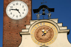 Clock tower. Detail of clock tower in soncino (italy royalty free stock images