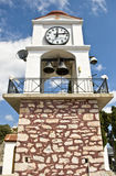 Streets of Skiathos island in Greece, clock tower. Clock tower in viewpoint on Skiathos Island, Greece stock photos