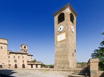 Clock Tower. And Medieval sqauare of Castelvetro, Modena, Italy Royalty Free Stock Photos
