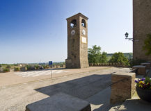 Clock Tower. Main square and Medieval clock tower in Castelvetro, Modena, Italy Stock Photo