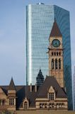 Clock tower. Old Toronto City Hall against modern building Royalty Free Stock Images