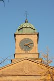 Clock tower. With green dome and weather-vane on top of one of the buildings of the University of Toronto, Canada stock photo