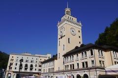 Clock tower in Alpine ski resort Rosa Khutor, Russia Royalty Free Stock Photos