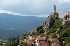 Clock tower of Arachova, Greece. Arachova is a local skiing resort which situated near ancient town of Delphi Royalty Free Stock Image
