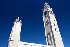 Clock tower architecture Stock Photos
