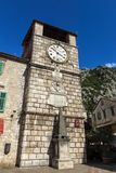 Clock Tower at the Armory Square Kotor, Montenegro.  royalty free stock images