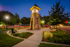 Free Clock Tower At Night, Along The Little Sugar Creek Greenway, In Stock Photography - 82816372
