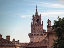 Clock tower in Avignon, France (Horloge). Clock tower of Hotel de Ville - Horloge in Avignon, France Royalty Free Stock Photo