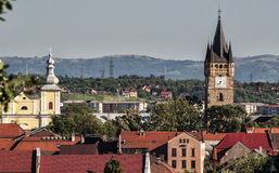 Clock Tower in Baia Mare. Romania, Maramures Region, Baia Mare, elevated city view Stock Images