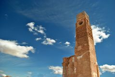 The clock tower in Belchite Royalty Free Stock Photography