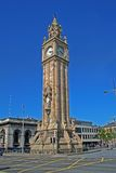 Clock tower in Belfast. Clock tower on the clear blue sky Stock Photography