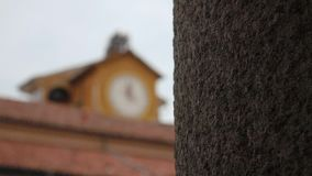 Clock tower with bells at the University of Pavia, PV, Italy, focus shift.  stock footage