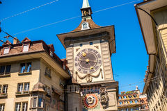 Clock tower in Bern city. View on Zytglogge the astronomical clock tower in the old town of Switzerland Stock Photo