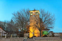 Clock tower on blue night times in Safranbolu Karabuk Turkey Royalty Free Stock Image