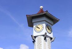 Clock tower with blue sky at Sabah, Malaysia Royalty Free Stock Photography