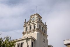 Clock tower of building near Plaza San Martin at Rivadavia and Rosario de Santa Fe street corner - Cordoba, Argentina royalty free stock photo