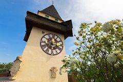 Clock tower, called the Uhrturm on top of Schlossberg Castle Hill in Graz, Austria, Europe. Clock tower, called the Uhrturm on top of Schlossberg Castle Hill in stock images