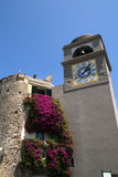 Clock Tower - Capri. A clock tower in a piazza in the mediterranean island of Capri, Italy royalty free stock photography
