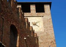 Clock tower of Castelvecchio, Verona, Italy stock photography