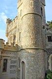 Clock tower castle stock photo