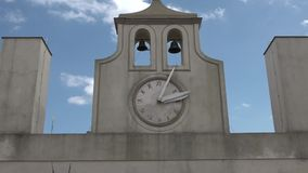 Clock on the tower of Castle sant'elmo. In naples stock footage