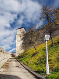 Clock tower of The Castle of Trencin Stock Photos
