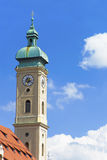 Clock tower of cathedral in Munich Stock Image