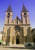 Clock tower catholic church Sarajevo. Catholic cathedral church of Sarajevo Bosnia Hercegovina two clock tower stock images